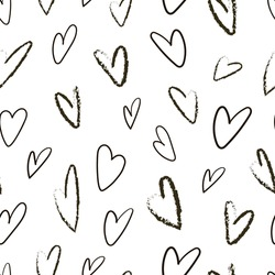 Seamless pattern with hearts. The pencil style. Modern and stylish romantic poster design, wrapping paper, Valentine design. Vector graphics on a white background.