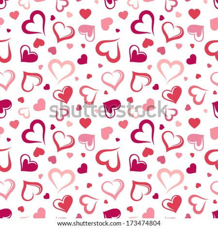 Seamless pattern with hearts Vector illustration