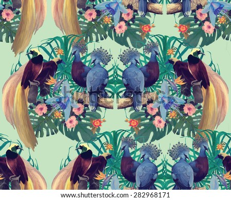 Seamless pattern with heaven birds and exotic flowers. Hand drawn vector.