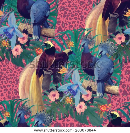 Seamless pattern with heaven birds and exotic flowers on leopard print. Hand drawn vector.