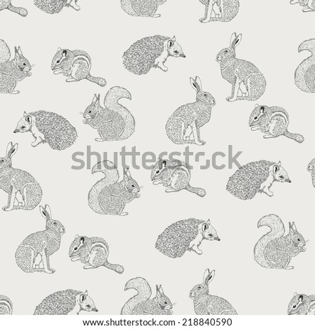 seamless pattern with hedgehog