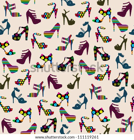 Seamless pattern with heeled shoes / Seamless pattern with  woman shoes  illustration background / Seamless ladies high heels shoes pattern