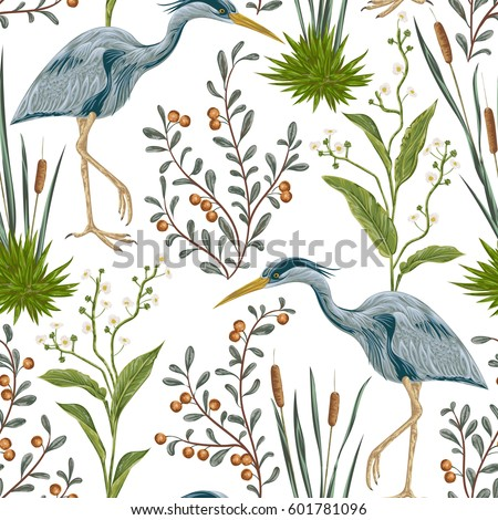 seamless pattern with heron