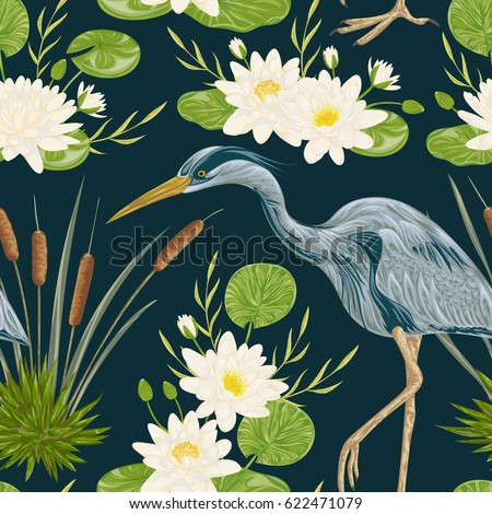Seamless pattern with heron bird, water lily and bulrush. Swamp flora and fauna. Vintage hand drawn vector illustration in watercolor style