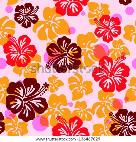 Seamless pattern with hibiscus flower / seamless hibiscus flower background (hawaiian pattern)