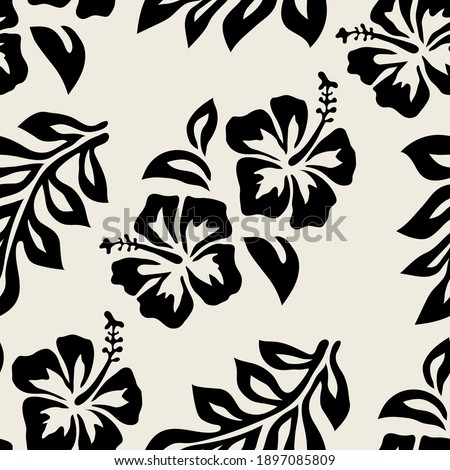 Seamless pattern with hibiscus flowers and leaves. Graphically natural print. Repeating contrast monochrome texture. Simple Hawaiian print.