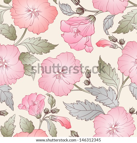 Seamless pattern with hibiscus. Vector illustration.