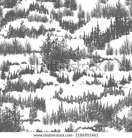 Seamless pattern with hills overgrown by evergreen coniferous forest or woodland. Backdrop with conifers grown in wild nature. Hand drawn monochrome vector illustration for wrapping paper, wallpaper.