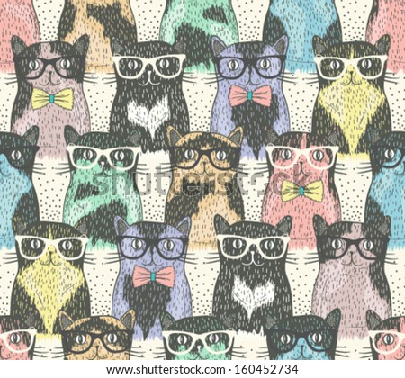 seamless pattern with hipster