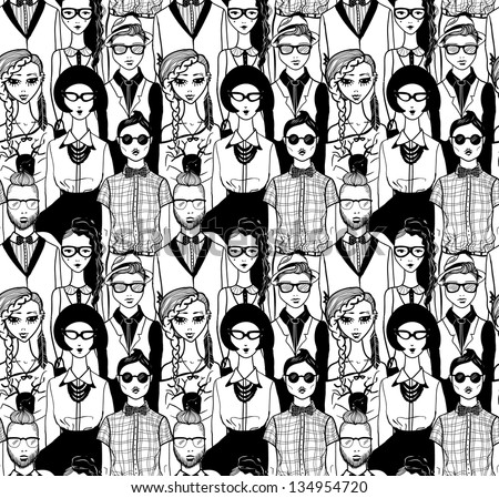 Seamless pattern with hipsters