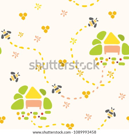 seamless pattern with hives and