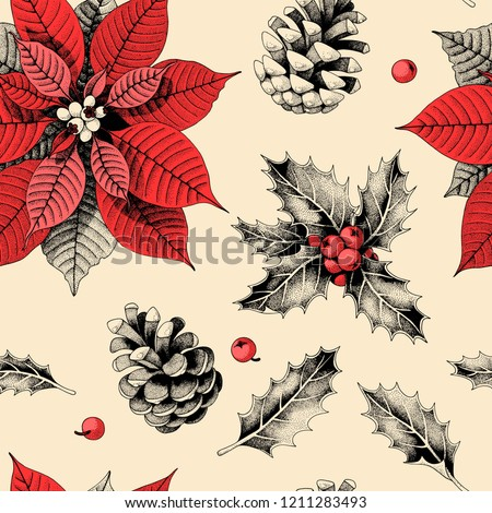 Seamless pattern with holly leaves and poinsettia