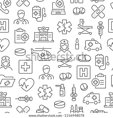 Seamless pattern with hospital and medical care. Black and white thin line icons