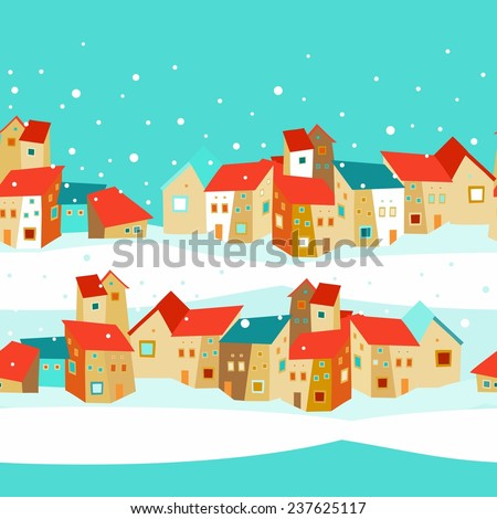 seamless pattern with houses