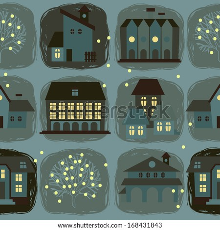 seamless pattern with houses ...