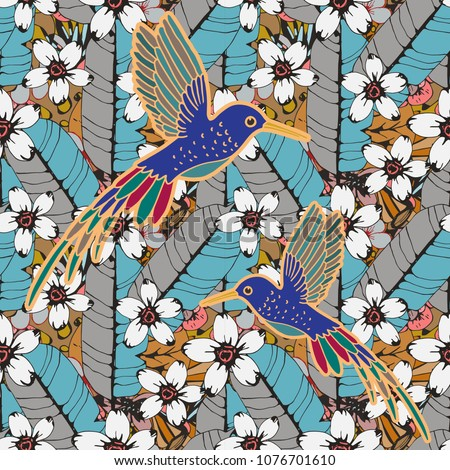 Seamless pattern with humming birds, tropical flowers, leaves. Summer background texture. Wallpaper, fabric design