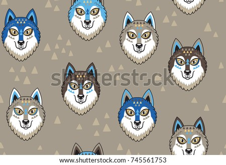 seamless pattern with huskys or