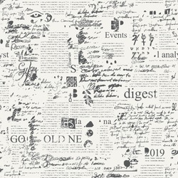 Seamless pattern with illegible scribbles imitating handwritten text on the newspaper page with sketches and blots. Vector abstract repeating background. Suitable for wallpaper, wrapping paper, fabric