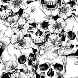 Seamless pattern with image a skull and with flowers cherry. Vector illustration.