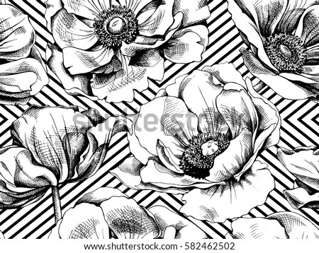 seamless pattern with image anemones flowers on a geometric background vector black and white illustration