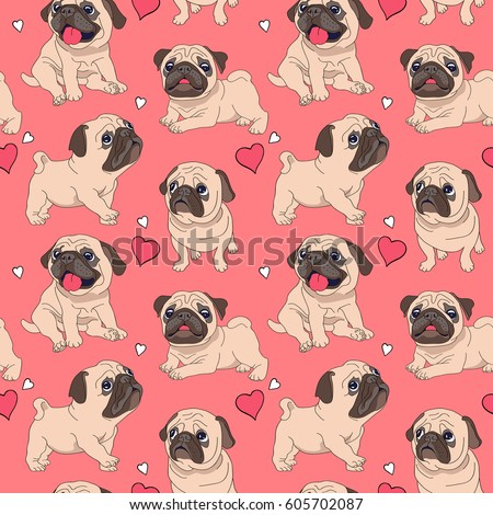 Stock Photo Seamless pattern with image of a Funny cartoon pugs puppies on a pink background. Vector illustration.