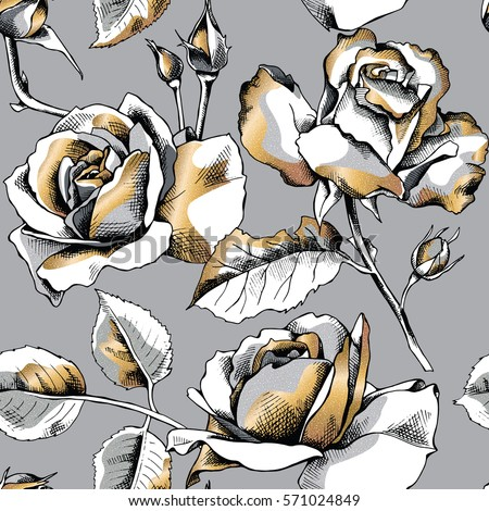 Seamless pattern with image of a gold rose flowers on a gray background. Vector illustration.