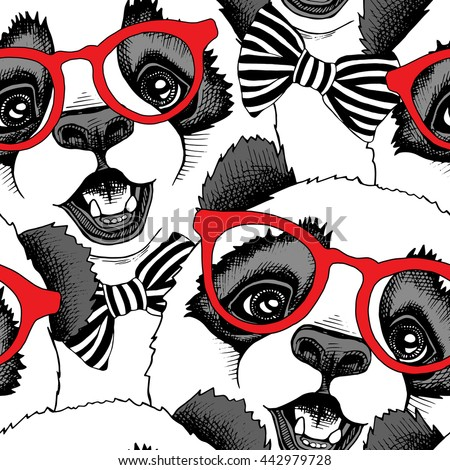 Stock Photo Seamless pattern with image of a Panda child in a red glasses with a tie. Vector illustration.