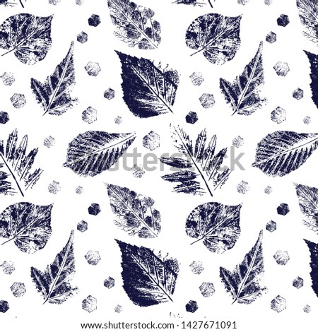 Seamless pattern with imprint forest leafs.  Vector illustration. Isolated objects on white background.