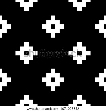 Seamless pattern with Inca crosses ornament. Ethnic embroidery background. Tribal wallpaper. Ethnical folk image. Tribe motif. Ancient mosaic. Digital paper for web design, textile print. Vector art.