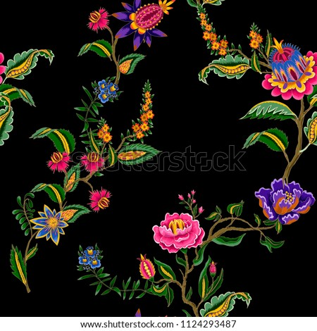 Seamless pattern with Indian ethnic ornament elements. Folk flowers and leaves for print or embroidery. Vector illustration.
