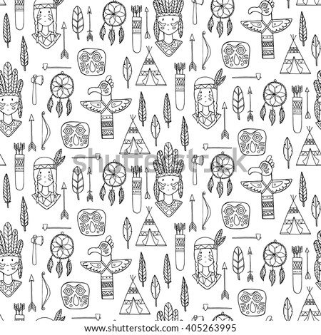 Seamless pattern with indian tribal elements. Vector illustration