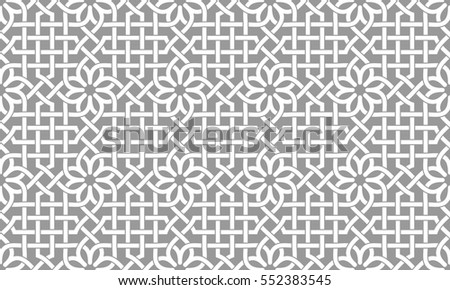 Seamless pattern with intersecting stripes, poly lines, polygons and stars on grey background. Abstract ornament in Arabic style. Arabesque.