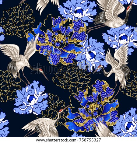 Seamless pattern with Japanese white cranes and peony, embroidered sequins