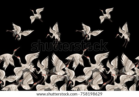 Seamless pattern with Japanese white cranes in different poses f