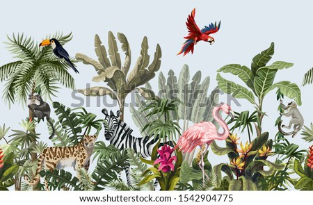 Seamless pattern with jungle animals, flowers and trees. Vector. stock photo