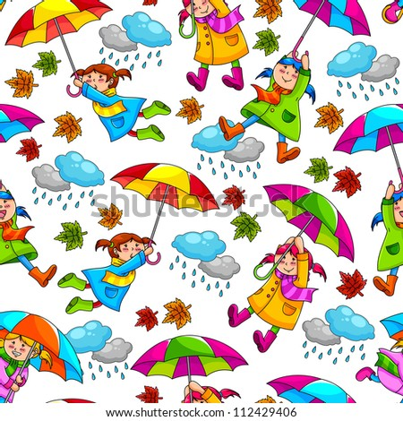 seamless pattern with kids holding umbrellas (JPEG available in my gallery)
