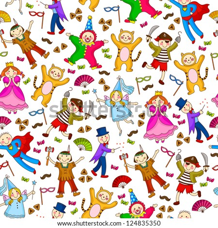 seamless pattern with kids wearing costumes (JPEG available in my gallery)
