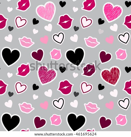 seamless pattern with kisses