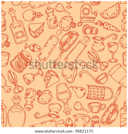seamless pattern with kitchen accessories