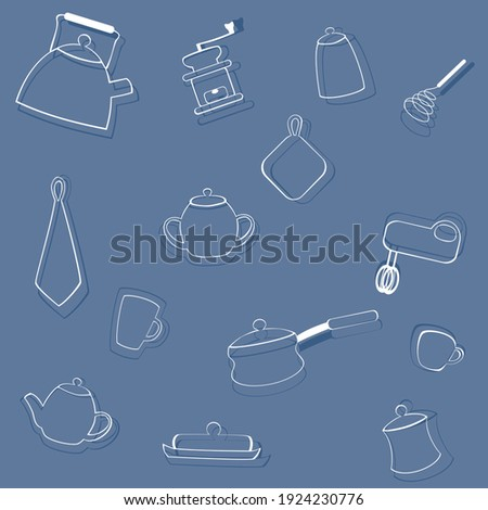 Seamless pattern with kitchen items. White outlines on a blue background. Vector illustration in doodle style stock photo