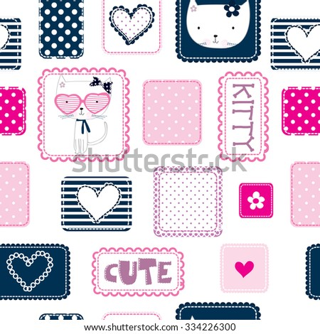 seamless pattern with kitty