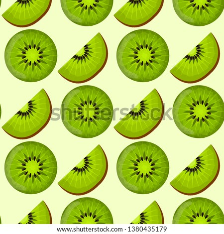 Seamless pattern with kiwi in different angles. Sliced kiwi. Healthy vegan food. Raw food ingredient. Colorful cartoon vector illustration.