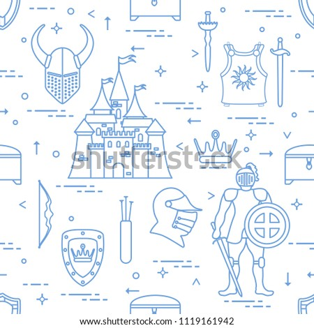 Seamless pattern with knight, castle, shields, swords, cuirass, helmet, crown, treasure chest, bow, quiver of arrows. Design for banner or print.