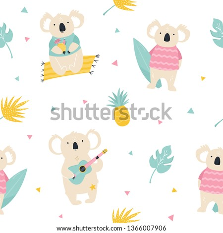 Seamless pattern with koalas, hawaiian summer elements. For gift boxes, textures, apparels, prints