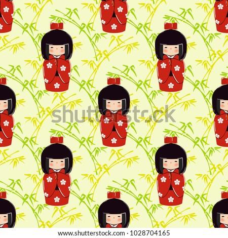 seamless pattern with kokeshi