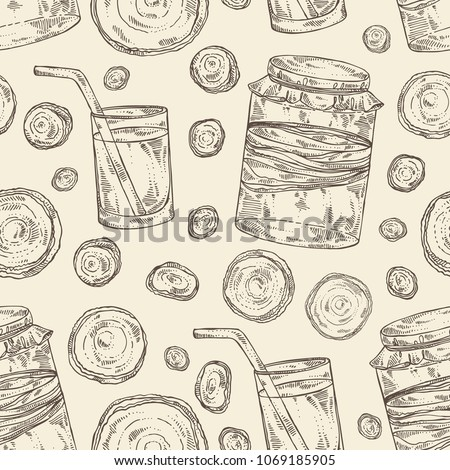 seamless pattern with kombucha