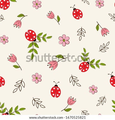 Seamless pattern with ladybugs and flowers on a white background in a flat style.  Сток-фото ©