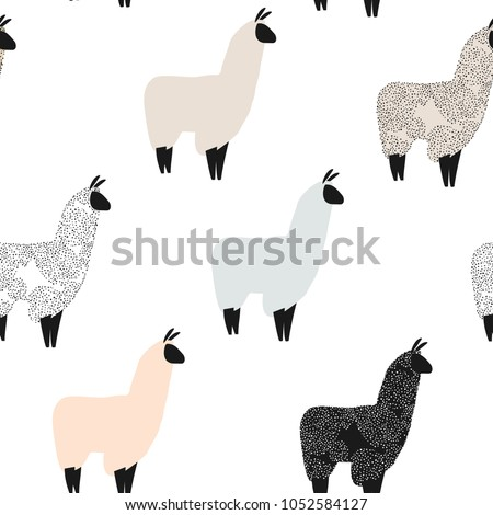 Seamless pattern with lama. Flock of multicolored alpacas. Scandinavian style.