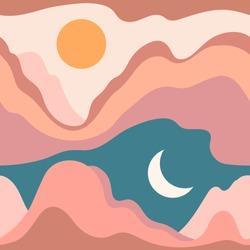 Seamless pattern with landscape, desert, mountains, Sun, Moon. Earth tones, burnt orange, terracotta colors. Boho wall decor. Abstract Mid century modern minimalist art print. Aesthetic background.