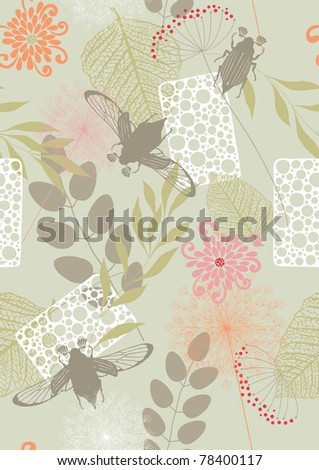Seamless pattern with leaves, flowers and may-bugs